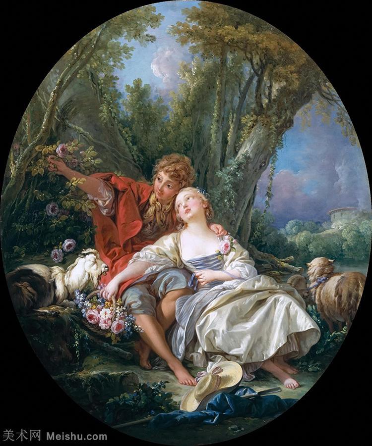 【欣赏级】YHR171349041-法国洛可可风格画派画家弗朗索瓦布歇Francois Boucher油画作品高清图片肖
