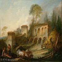【印刷级】YHR171349263-法国洛可可风格画派画家弗朗索瓦布歇Francois Boucher油画作品高清图片肖像画古典宫廷油画高清图片-77M-5896X4592