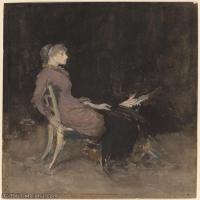 【欣赏级】YHR18083729-美国画家惠斯勒James Abbott McNeill Whistler油画作品高清图片-18M-2161X3000