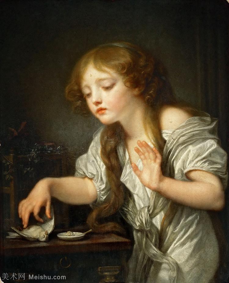 【打印级】YHR181011051-法国洛可可风格画家让巴蒂斯特格勒兹Jean Baptiste Greuze古典人物油