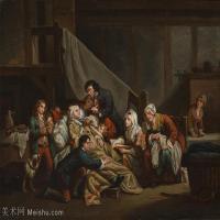 【印刷级】YHR181011082-法国洛可可风格画家让巴蒂斯特格勒兹Jean Baptiste Greuze古典人物油画作品图片-The paralytic man helped by his ch