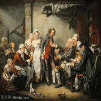 【印刷级】YHR181011092-法国洛可可风格画家让巴蒂斯特格勒兹Jean Baptiste Greuze古典人物油画作品图片-Country Engagement-56M-5047X3895