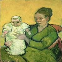【打印级】YHR181043045-印象派大师梵高油画自画像凡高作品高清大图梵高星空高清大图Portrait of Madame Augustine Roulin and Baby Marcelle-