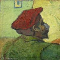 【打印级】YHR181043135-印象派大师梵高油画自画像凡高作品高清大图梵高星空高清大图Paul Gauguin (Man in a Red Beret)-39M-3500X3908
