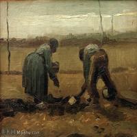 【打印级】YHR181043042-印象派大师梵高油画自画像凡高作品高清大图梵高星空高清大图Peasants Planting Potatoes-22M-3118X2466