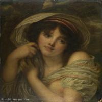 【印刷级】YHR181011087-法国洛可可风格画家让巴蒂斯特格勒兹Jean Baptiste Greuze古典人物油画作品图片-A Girl's Portrait-46M-3672X4437