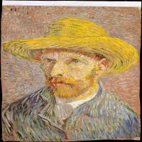 【打印级】YHR181043088-世界名家梵高经典绘画作品高清大图下载大师经典油画作品高清图片Self-Portrait with a Straw Hat verso The Potato Peel