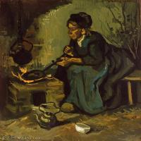 【打印级】YHR181043089-印象派大师梵高油画自画像凡高作品高清大图梵高星空高清大图Peasant Woman Cooking by a Fireplace-30M-3018X3528