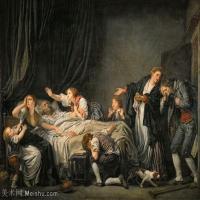 【印刷级】YHR181011083-法国洛可可风格画家让巴蒂斯特格勒兹Jean Baptiste Greuze古典人物油画作品图片-An ungrateful son-44M-4425X3507