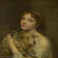 【印刷级】YHR181011086-法国洛可可风格画家让巴蒂斯特格勒兹Jean Baptiste Greuze古典人物油画作品图片-A Girl with a Lamb-46M-3648X4437