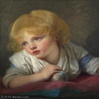 【印刷级】YHR181011084-法国洛可可风格画家让巴蒂斯特格勒兹Jean Baptiste Greuze古典人物油画作品图片-A Child with an Apple-44M-3528X443