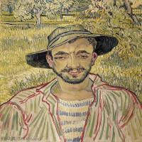 【打印级】YHR181043048-印象派大师梵高油画自画像凡高作品高清大图梵高星空高清大图Portrait of a Young Peasant-22M-2523X3096