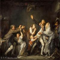 【印刷级】YHR181011088-法国洛可可风格画家让巴蒂斯特格勒兹Jean Baptiste Greuze古典人物油画作品图片-Father's curse, or ungrateful son