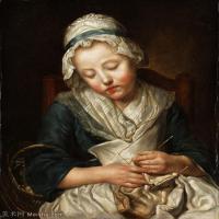 【印刷级】YHR181011094-法国洛可可风格画家让巴蒂斯特格勒兹Jean Baptiste Greuze古典人物油画作品图片-Tricoteuse endormie-85M-4862X6160