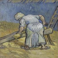 【打印级】YHR181043097-印象派大师梵高油画自画像凡高作品高清大图梵高星空高清大图Peasant Woman Cutting Straw (after Millet)-32M-2676X42