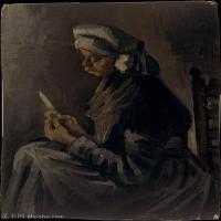 【打印级】YHR181043090-印象派大师梵高油画自画像凡高作品高清大图梵高星空高清大图The Potato Peeler recto Self-Portrait with a Straw Hat