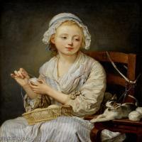 【印刷级】YHR181011095-法国洛可可风格画家让巴蒂斯特格勒兹Jean Baptiste Greuze古典人物油画作品图片-The Wool Winder, c. 1759-88M-5029X