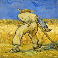 【打印级】YHR181043108-印象派大师梵高油画自画像凡高作品高清大图梵高星空高清大图The Reaper (after Millet)-34M-2599X4683