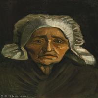 【欣赏级】YHR181043005-印象派大师梵高油画自画像凡高作品高清大图梵高星空高清大图Head of an Old Peasant Woman with White Cap-8M-1501X20
