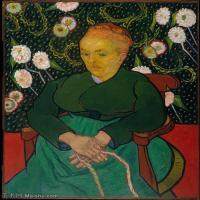 【打印级】YHR181043092-世界名家梵高经典绘画作品高清大图下载大师经典油画作品高清图片La Berceuse (Woman Rocking a Cradle; Augustine-Alix