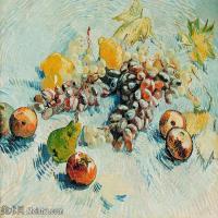 【打印级】YHR181056059-印象派绘画大师梵高油画静物高清图片凡高油画静物高清大图油画风景高清图片Still Life with Apples, Pears, Lemons and Grape