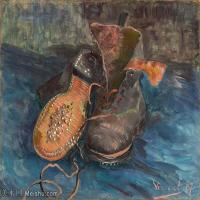 【打印级】YHR181056061-印象派绘画大师梵高油画静物高清图片凡高油画静物高清大图油画风景高清图片A Pair of Shoes-27M-3477X2764