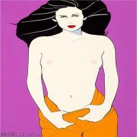 【欣赏级】ZSHR17143518-美国现代画家帕特里克安吉尔Patrick Nagel绘画作品高清图片-17M-2085X3000