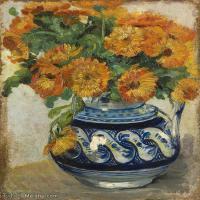 【打印级】YHR181056048-印象派绘画大师梵高油画静物高清图片凡高油画静物高清大图油画风景高清图片Vincent van Gogh-Still life of marigolds in a W