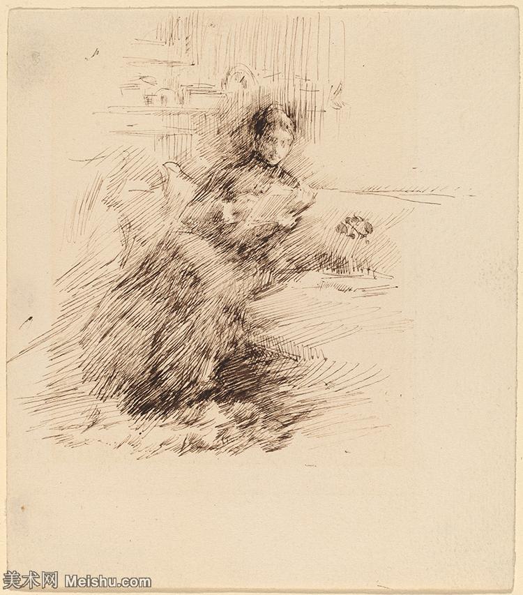 【打印级】SMR180840400-美国画家惠斯勒James Abbott McNeill Whistler素描速写作品