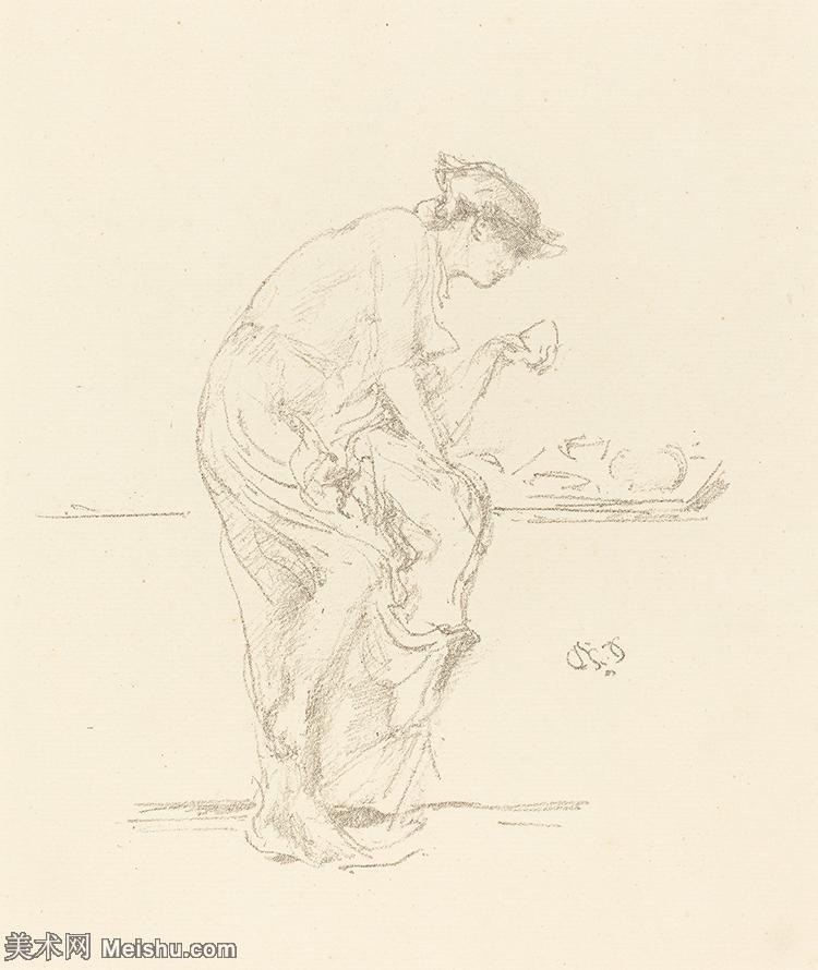 【打印级】SMR180840398-美国画家惠斯勒James Abbott McNeill Whistler素描速写作品