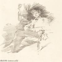 【欣赏级】SMR180840044-美国画家惠斯勒James Abbott McNeill Whistler素描速写作品高清图片-8M-1463X2000