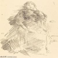 【欣赏级】SMR180840037-美国画家惠斯勒James Abbott McNeill Whistler素描速写作品高清图片-8M-1404X2000