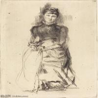 【欣赏级】SMR180840020-美国画家惠斯勒James Abbott McNeill Whistler素描速写作品高清图片-7M-1342X2000