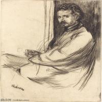 【欣赏级】SMR180840021-美国画家惠斯勒James Abbott McNeill Whistler素描速写作品高清图片-7M-1344X2000