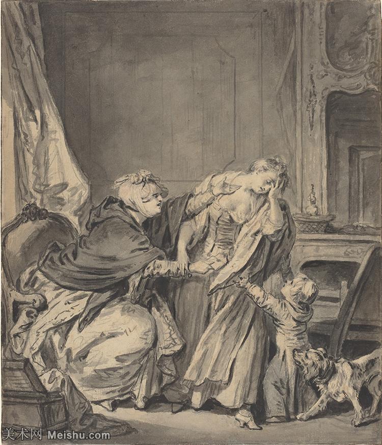 【打印级】SMR18100917-法国洛可可风格画家让巴蒂斯特格勒兹Jean Baptiste Greuze古典人物油画