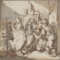 【打印級】SMR18100920-法國洛可可風格畫家讓巴蒂斯特格勒茲Jean Baptiste Greuze古典人物油畫作品圖片-A Tired Woman with Two Children-23M