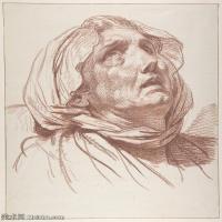 【打印級】SMR18100930-法國洛可可風格畫家讓巴蒂斯特格勒茲Jean Baptiste Greuze古典人物油畫作品圖片-Head of an Old Woman Looking Up-30M