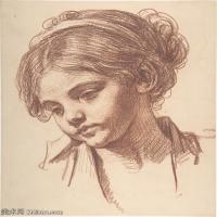 【打印級】SMR18100925-法國洛可可風格畫家讓巴蒂斯特格勒茲Jean Baptiste Greuze古典人物油畫作品圖片-Child's Head-28M-2858X3485