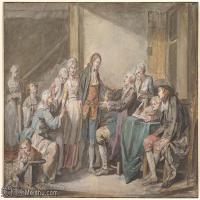 【欣賞級】SMR18100901-法國洛可可風格畫家讓巴蒂斯特格勒茲Jean Baptiste Greuze古典人物油畫作品圖片-The Marriage Contract-8M-2108X1463