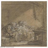 【欣賞級】SMR18100903-法國洛可可風格畫家讓巴蒂斯特格勒茲Jean Baptiste Greuze古典人物油畫作品圖片-VISIT TO THE GRANDMOTHER-9M-1646X20