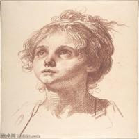 【打印級】SMR18100928-法國洛可可風格畫家讓巴蒂斯特格勒茲Jean Baptiste Greuze古典人物油畫作品圖片-Head of a Girl Looking Up-29M-2878X
