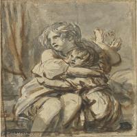 【欣赏级】SMR18100908-法国洛可可风格画家让巴蒂斯特格勒兹Jean Baptiste Greuze古典人物油画作品图片-TWO FRIGHTENED CHILDREN COMFORTING