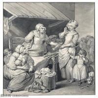 【打印級】SMR18100935-法國洛可可風格畫家讓巴蒂斯特格勒茲Jean Baptiste Greuze古典人物油畫作品圖片-LE MARCHé AUX POISSONS-39M-3478X400