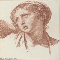 【打印級】SMR18100919-法國洛可可風格畫家讓巴蒂斯特格勒茲Jean Baptiste Greuze古典人物油畫作品圖片-A Young Girl Looking Upward-22M-263