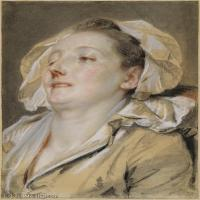 【欣赏级】SMR18100916-法国洛可可风格画家让巴蒂斯特格勒兹Jean Baptiste Greuze古典人物油画作品图片-The Well-Loved Mother-20M-2311X3150