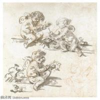 【欣赏级】SMR18100909-法国洛可可风格画家让巴蒂斯特格勒兹Jean Baptiste Greuze古典人物油画作品图片-THREE STUDIES OF PUTTI-11M-1877X210