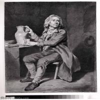 【欣赏级】SMR18100906-法国洛可可风格画家让巴蒂斯特格勒兹Jean Baptiste Greuze古典人物油画作品图片-Seated Man with a Pitcher and a Gla