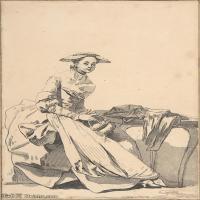【欣赏级】SMR18100911-法国洛可可风格画家让巴蒂斯特格勒兹Jean Baptiste Greuze古典人物油画作品图片-Florentine Woman Wearing a Butterfl