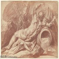 【打印級】SMR18100933-法國洛可可風格畫家讓巴蒂斯特格勒茲Jean Baptiste Greuze古典人物油畫作品圖片-Reclining River God-32M-3911X2894