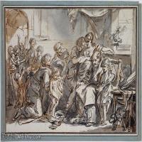 【打印級】SMR18100932-法國洛可可風格畫家讓巴蒂斯特格勒茲Jean Baptiste Greuze古典人物油畫作品圖片-Domestic Scene-31M-4002X2732